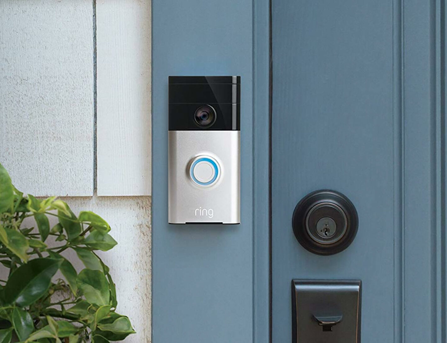 Ring doorbell on blue door
