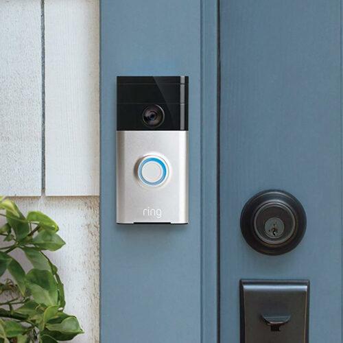 Ring doorbell on blue door