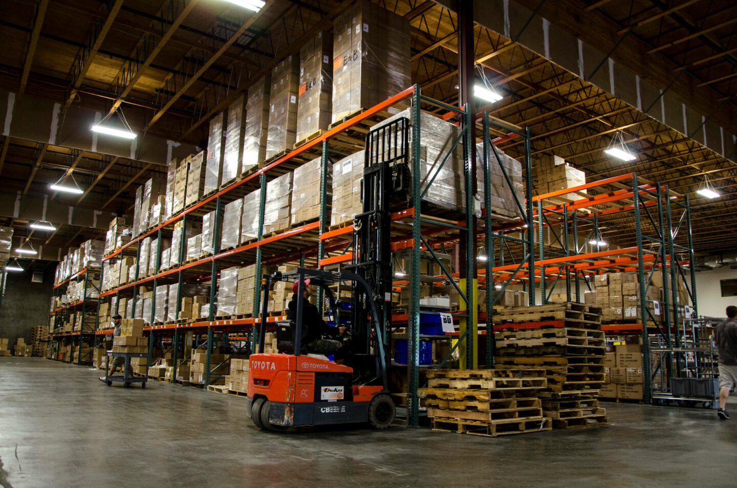 Warehhouse interior with forklift